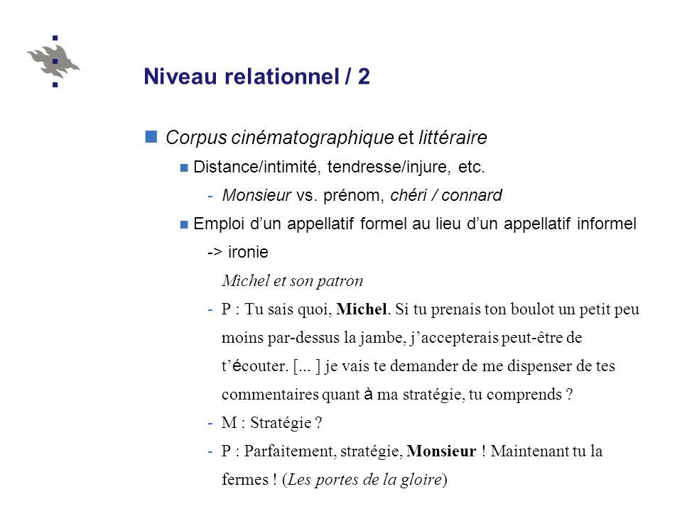 Niveau relationnel / 2 Corpus cinématographique et littéraire Distance/intimité, tendresse/injure, etc. -Monsieur vs. prénom, chéri / connard Emploi d