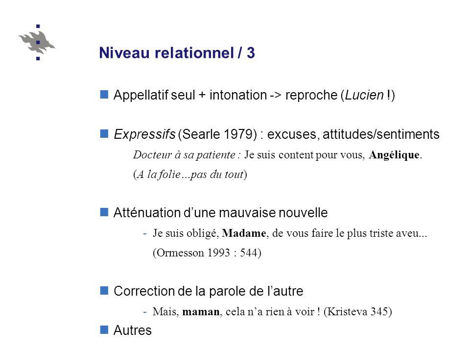 Niveau relationnel / 3 Appellatif seul + intonation -> reproche (Lucien !) Expressifs (Searle 1979) : excuses, attitudes/sentiments Docteur à sa patie