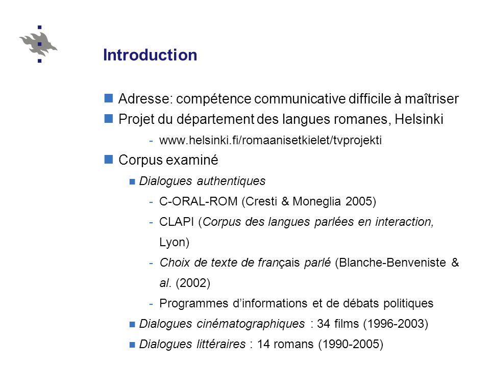 Introduction Adresse: compétence communicative difficile à maîtriser Projet du département des langues romanes, Helsinki -www.helsinki.fi/romaanisetki
