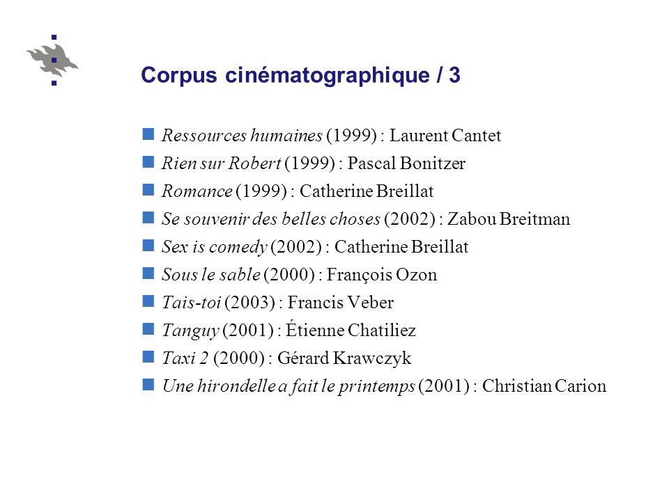 Corpus cinématographique / 3 Ressources humaines (1999) : Laurent Cantet Rien sur Robert (1999) : Pascal Bonitzer Romance (1999) : Catherine Breillat