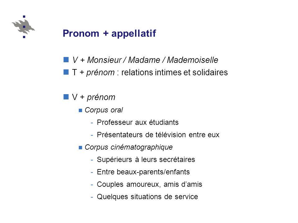 Pronom + appellatif V + Monsieur / Madame / Mademoiselle T + prénom : relations intimes et solidaires V + prénom Corpus oral -Professeur aux étudiants