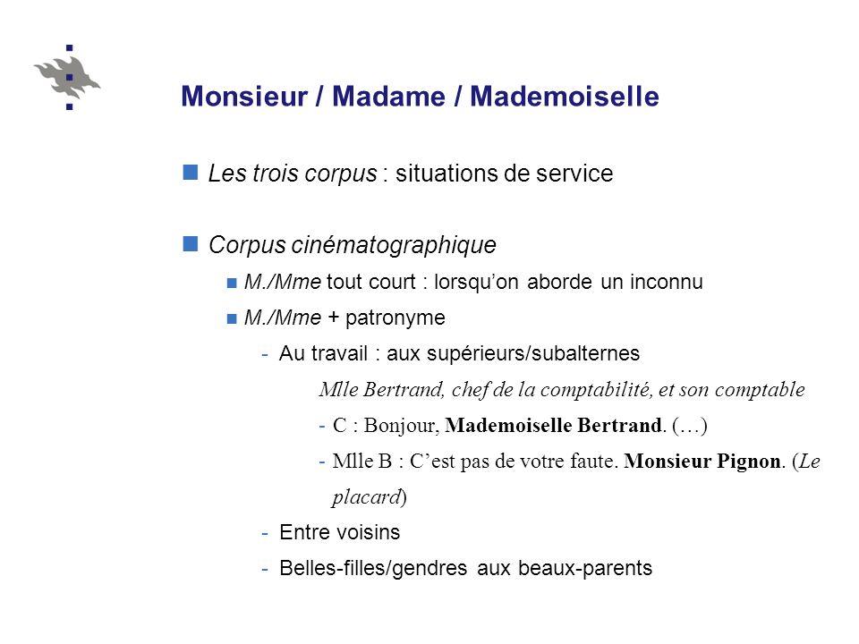 Monsieur / Madame / Mademoiselle Les trois corpus : situations de service Corpus cinématographique M./Mme tout court : lorsquon aborde un inconnu M./M