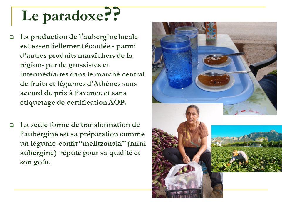 La production de l'aubergine locale est essentiellement écoulée - parmi dautres produits maraîchers de la région- par de grossistes et intermédiaires