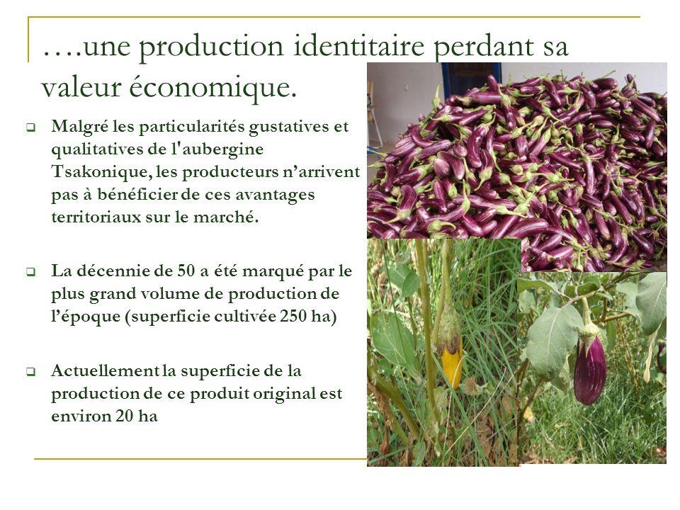 ….une production identitaire perdant sa valeur économique. Malgré les particularités gustatives et qualitatives de l'aubergine Tsakonique, les product