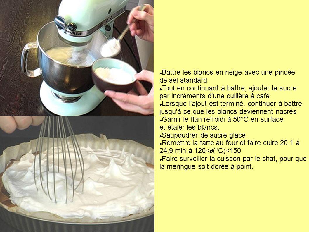 Battre les blancs en neige avec une pincée de sel standard Tout en continuant à battre, ajouter le sucre par incréments d'une cuillère à café Lorsque