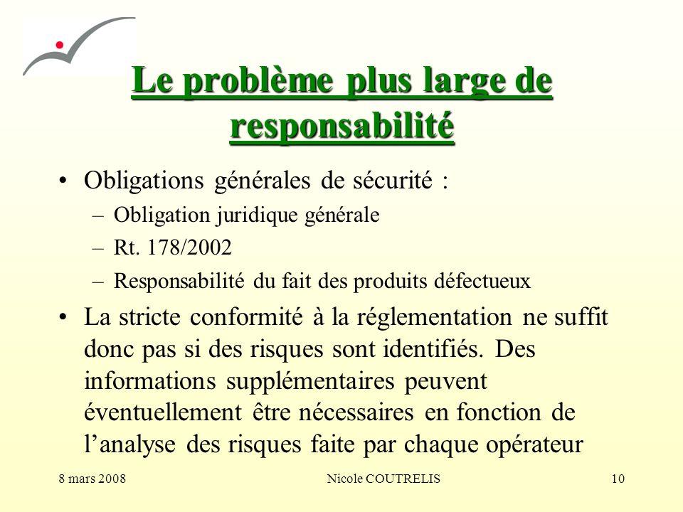 8 mars 2008Nicole COUTRELIS10 Le problème plus large de responsabilité Obligations générales de sécurité : –Obligation juridique générale –Rt. 178/200