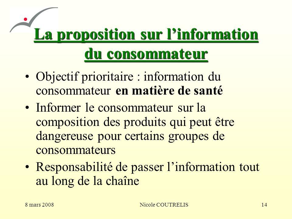 8 mars 2008Nicole COUTRELIS14 La proposition sur linformation du consommateur Objectif prioritaire : information du consommateur en matière de santé I
