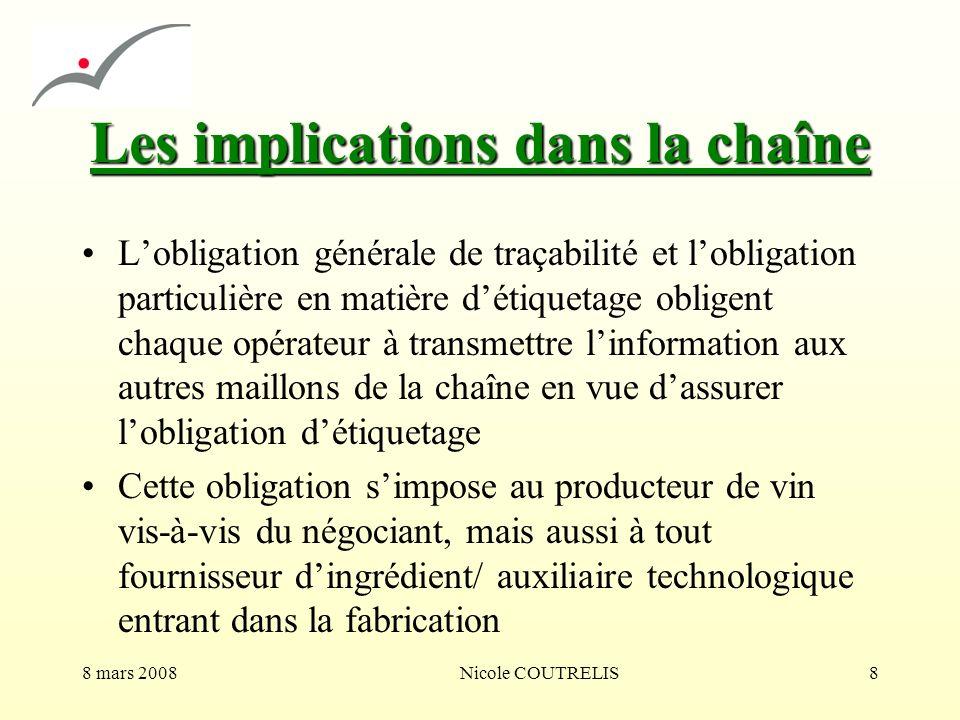 8 mars 2008Nicole COUTRELIS8 Les implications dans la chaîne Lobligation générale de traçabilité et lobligation particulière en matière détiquetage ob
