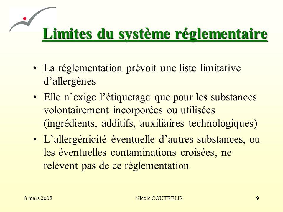 8 mars 2008Nicole COUTRELIS9 Limites du système réglementaire La réglementation prévoit une liste limitative dallergènes Elle nexige létiquetage que p