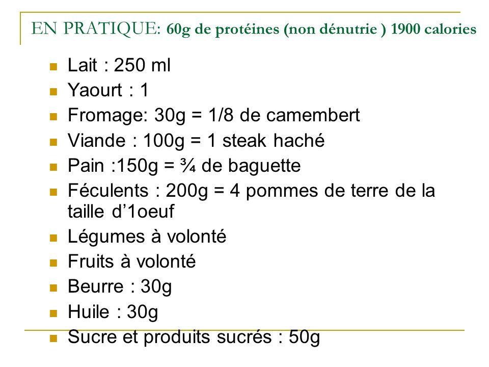 EN PRATIQUE: 60g de protéines (non dénutrie ) 1900 calories Lait : 250 ml Yaourt : 1 Fromage: 30g = 1/8 de camembert Viande : 100g = 1 steak haché Pain :150g = ¾ de baguette Féculents : 200g = 4 pommes de terre de la taille d1oeuf Légumes à volonté Fruits à volonté Beurre : 30g Huile : 30g Sucre et produits sucrés : 50g