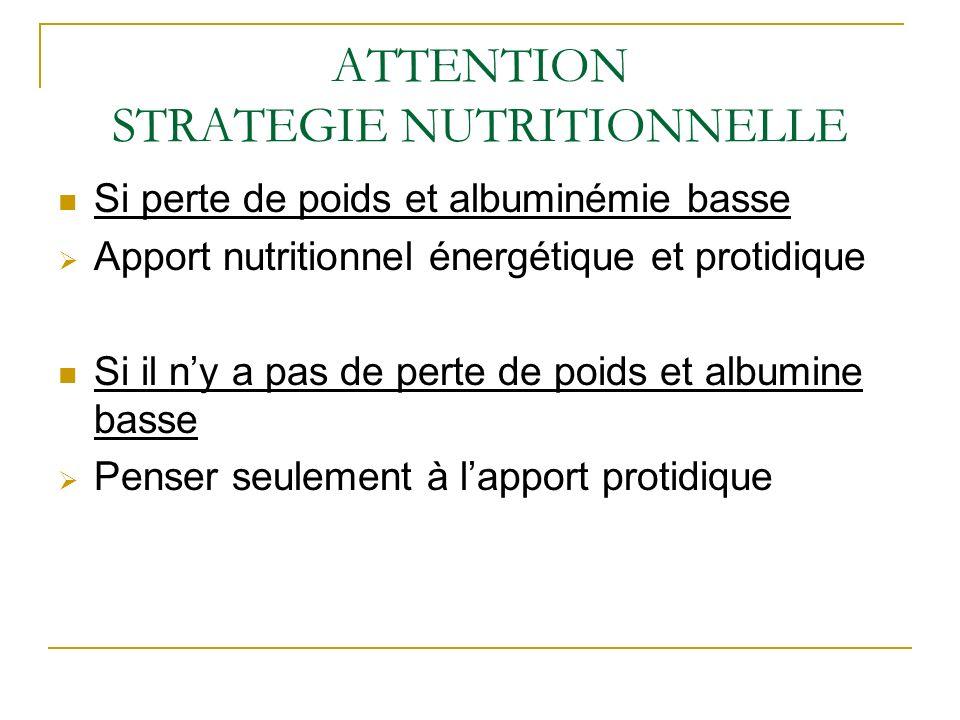 ATTENTION STRATEGIE NUTRITIONNELLE Si perte de poids et albuminémie basse Apport nutritionnel énergétique et protidique Si il ny a pas de perte de poids et albumine basse Penser seulement à lapport protidique
