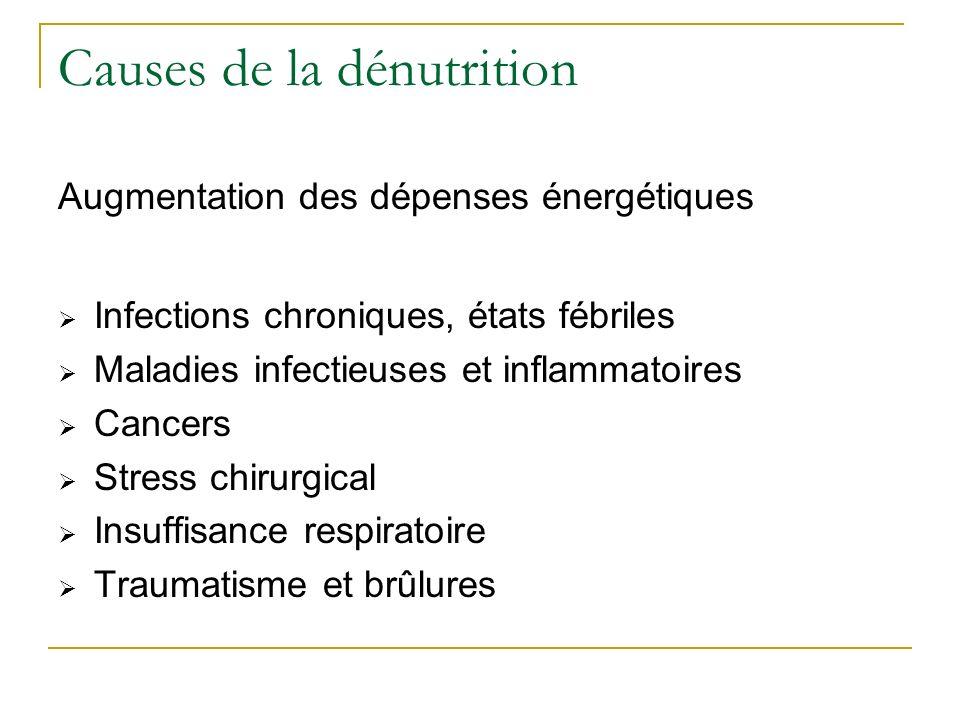 Causes de la dénutrition Augmentation des dépenses énergétiques Infections chroniques, états fébriles Maladies infectieuses et inflammatoires Cancers Stress chirurgical Insuffisance respiratoire Traumatisme et brûlures