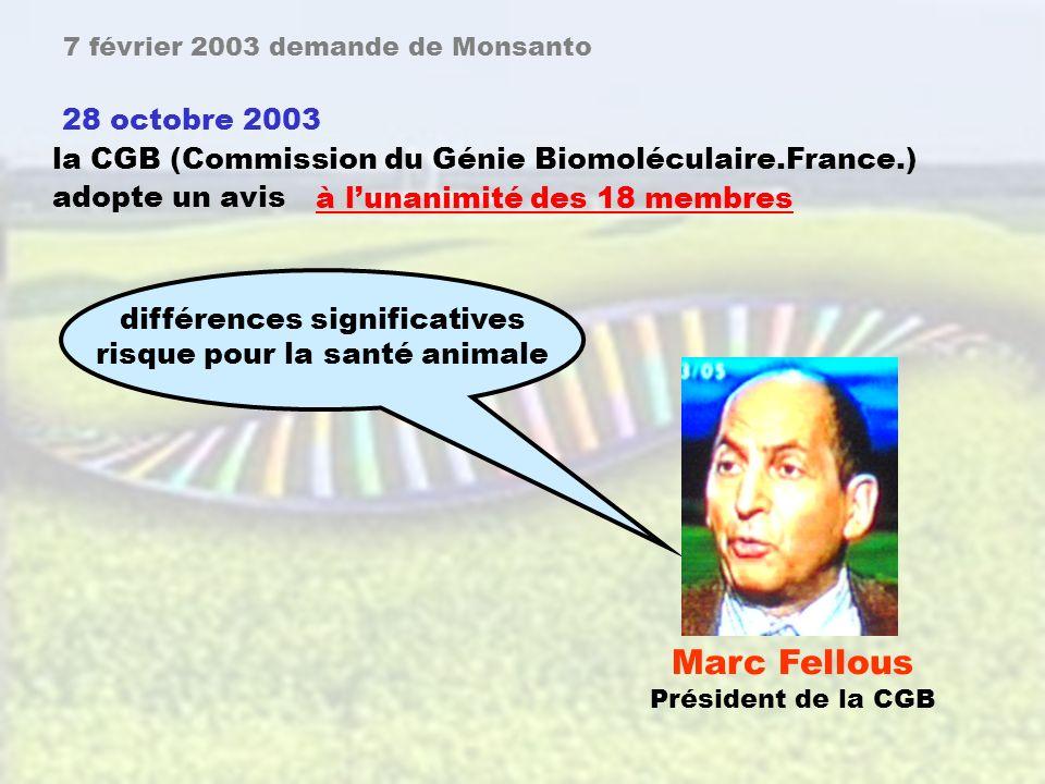 41 page 992 7 février 2003, La Commission et le gouvernement allemand reçoivent une demande de Monsanto pour limportation et lutilisation du MON 863 et de ses produits dérivés ( pour lalimentation ).
