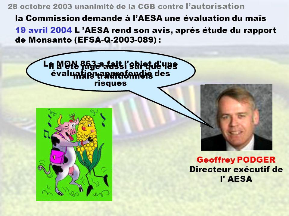 42 28 octobre 2003 la CGB (Commission du Génie Biomoléculaire.France.) adopte un avis 7 février 2003 demande de Monsanto à lunanimité des 18 membres différences significatives risque pour la santé animale Marc Fellous Président de la CGB