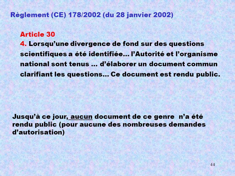 43 19 avril 2004 L AESA rend son avis, après étude du rapport de Monsanto (EFSA-Q-2003-089) : Geoffrey PODGER Directeur exécutif de l AESA 28 octobre 2003 unanimité de la CGB contre lautorisation Le MON 863 a fait l objet d une évaluation approfondie des risques il a été jugé aussi sûr que les maïs traditionnels la Commission demande à lAESA une évaluation du maïs