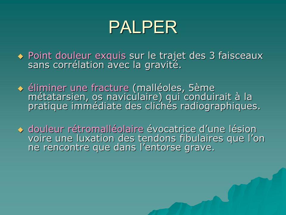 PALPER Point douleur exquis sur le trajet des 3 faisceaux sans corrélation avec la gravité. Point douleur exquis sur le trajet des 3 faisceaux sans co