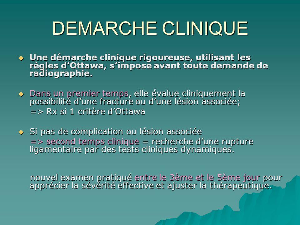 DEMARCHE CLINIQUE Une démarche clinique rigoureuse, utilisant les règles dOttawa, simpose avant toute demande de radiographie. Une démarche clinique r