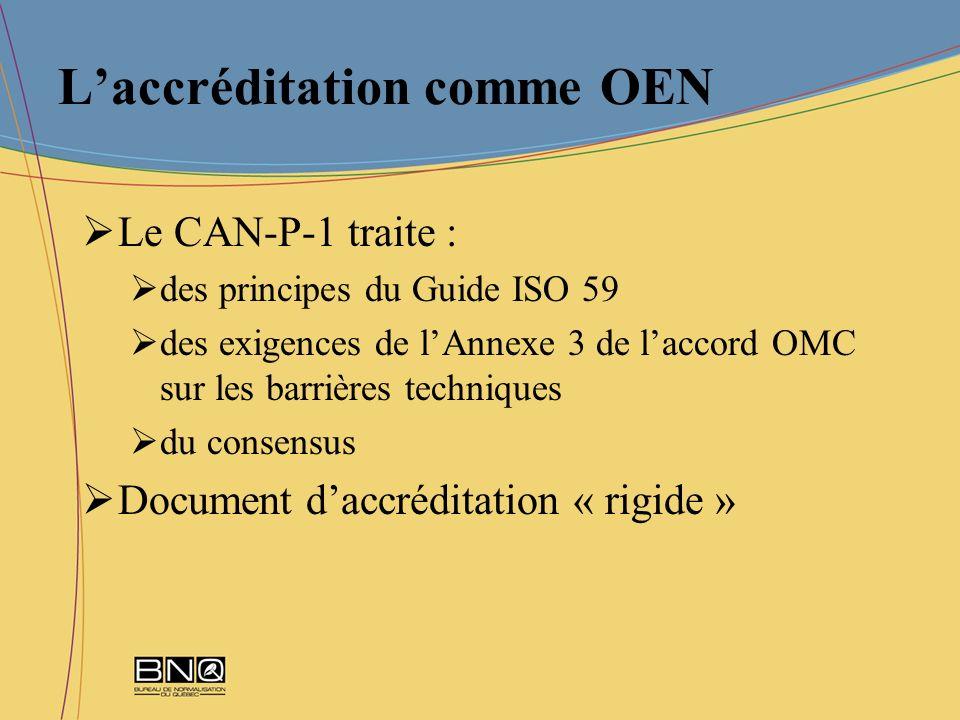 Laccréditation comme OEN Le CAN-P-1 traite : des principes du Guide ISO 59 des exigences de lAnnexe 3 de laccord OMC sur les barrières techniques du c