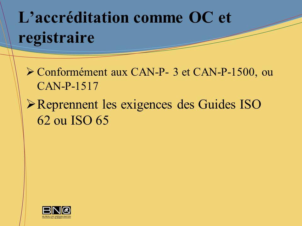 Laccréditation comme OC et registraire Conformément aux CAN-P- 3 et CAN-P-1500, ou CAN-P-1517 Reprennent les exigences des Guides ISO 62 ou ISO 65