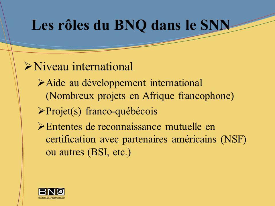 Les rôles du BNQ dans le SNN Niveau international Aide au développement international (Nombreux projets en Afrique francophone) Projet(s) franco-québé