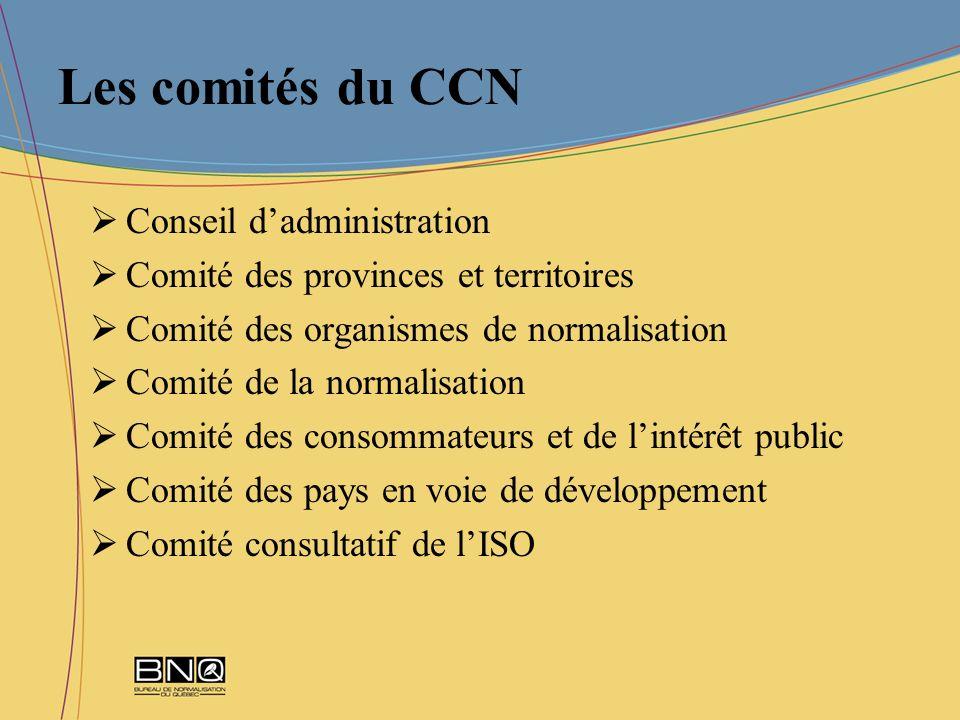 Les comités du CCN Conseil dadministration Comité des provinces et territoires Comité des organismes de normalisation Comité de la normalisation Comit