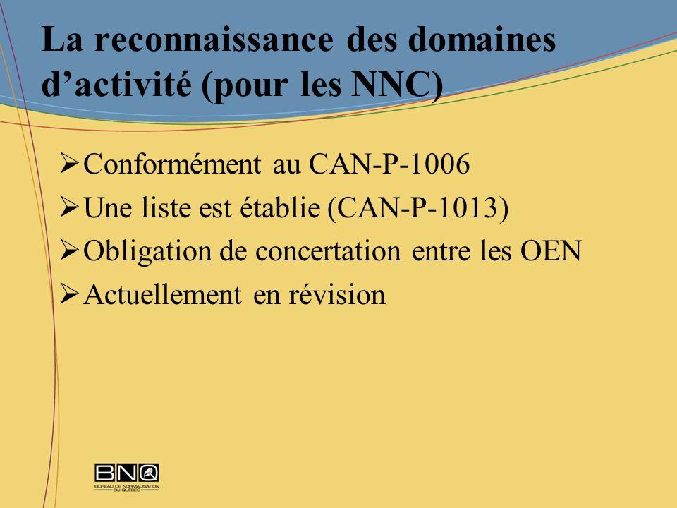 La reconnaissance des domaines dactivité (pour les NNC) Conformément au CAN-P-1006 Une liste est établie (CAN-P-1013) Obligation de concertation entre