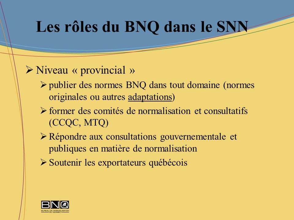 Les rôles du BNQ dans le SNN Niveau « provincial » publier des normes BNQ dans tout domaine (normes originales ou autres adaptations) former des comit