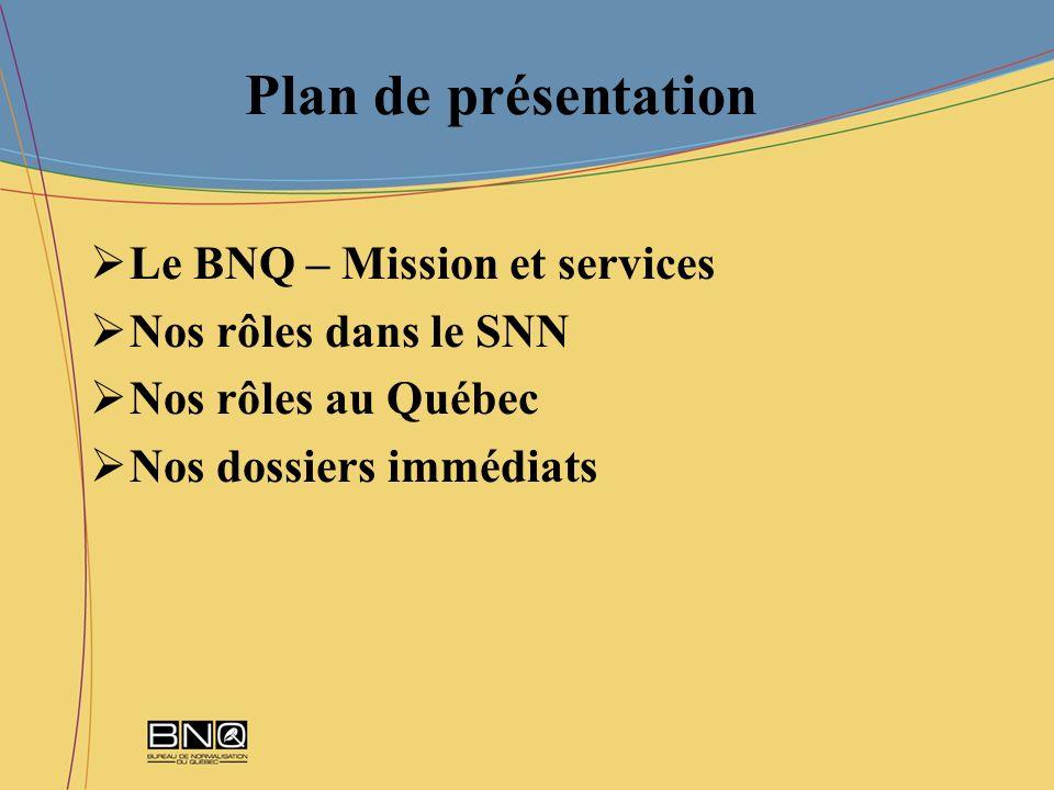 Plan de présentation Le BNQ – Mission et services Nos rôles dans le SNN Nos rôles au Québec Nos dossiers immédiats