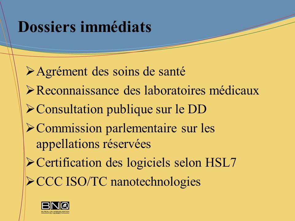 Dossiers immédiats Agrément des soins de santé Reconnaissance des laboratoires médicaux Consultation publique sur le DD Commission parlementaire sur l