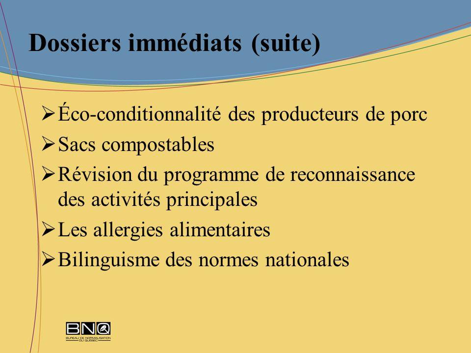 Dossiers immédiats (suite) Éco-conditionnalité des producteurs de porc Sacs compostables Révision du programme de reconnaissance des activités princip