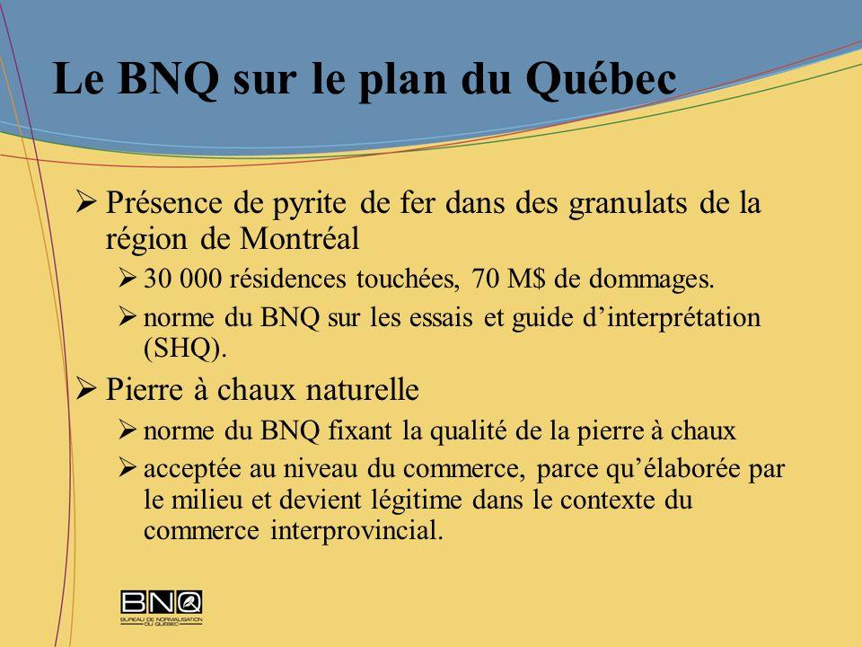 Le BNQ sur le plan du Québec Présence de pyrite de fer dans des granulats de la région de Montréal 30 000 résidences touchées, 70 M$ de dommages. norm