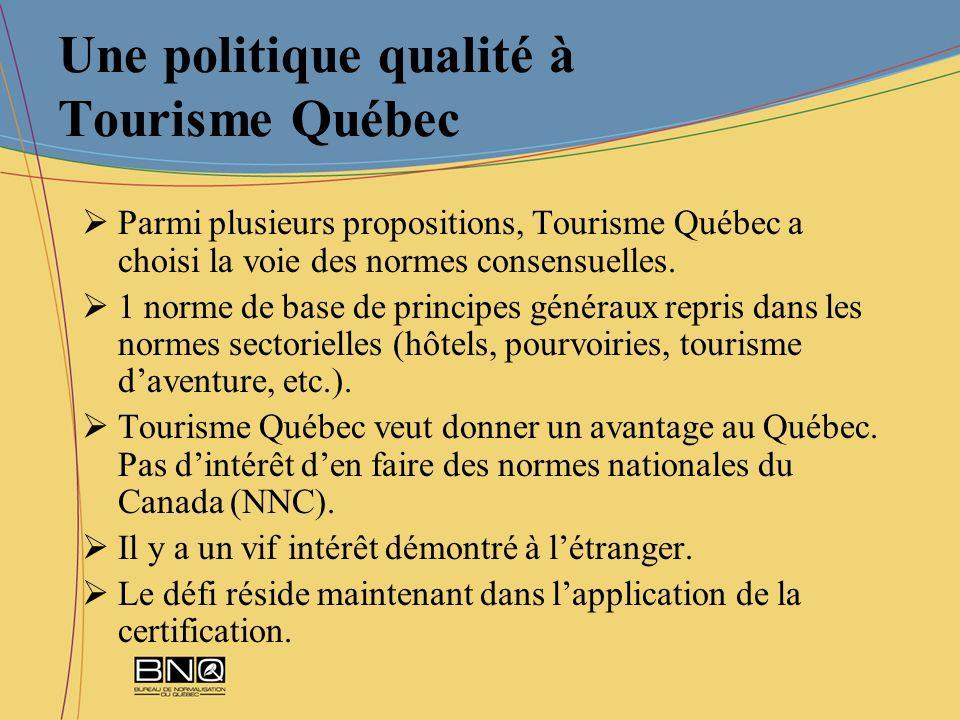 Une politique qualité à Tourisme Québec Parmi plusieurs propositions, Tourisme Québec a choisi la voie des normes consensuelles. 1 norme de base de pr