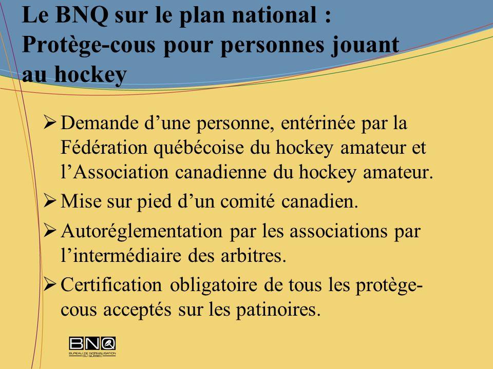 Le BNQ sur le plan national : Protège-cous pour personnes jouant au hockey Demande dune personne, entérinée par la Fédération québécoise du hockey ama