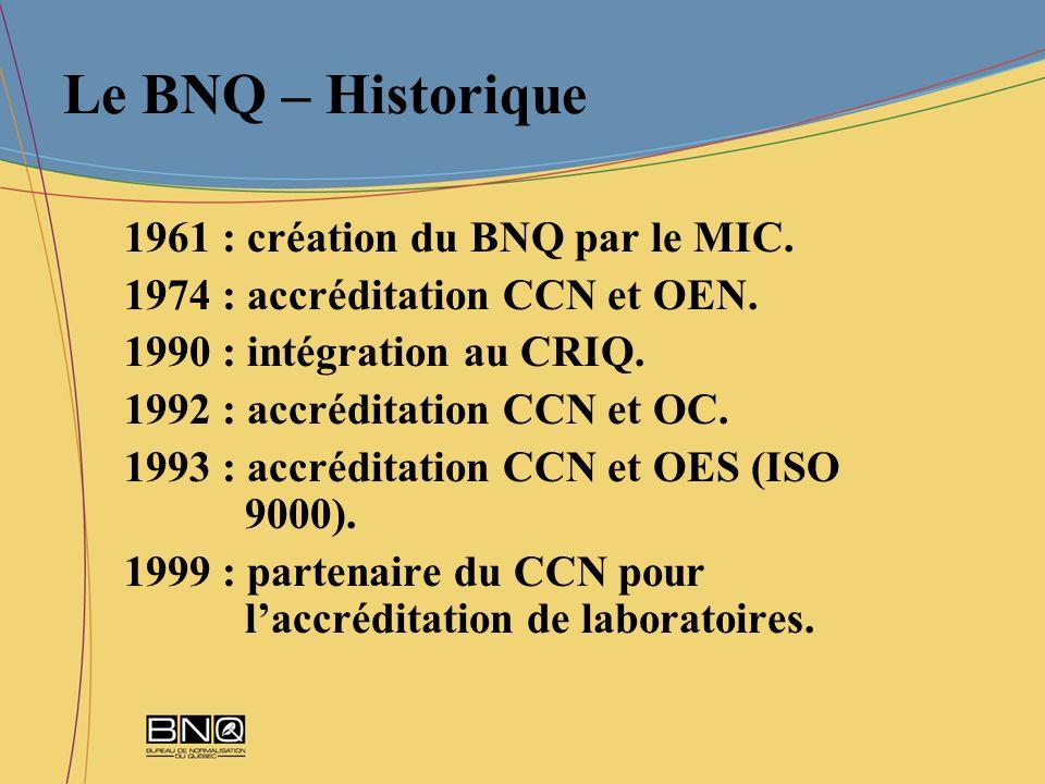 Le BNQ – Historique 1961 : création du BNQ par le MIC. 1974 : accréditation CCN et OEN. 1990 : intégration au CRIQ. 1992 : accréditation CCN et OC. 19