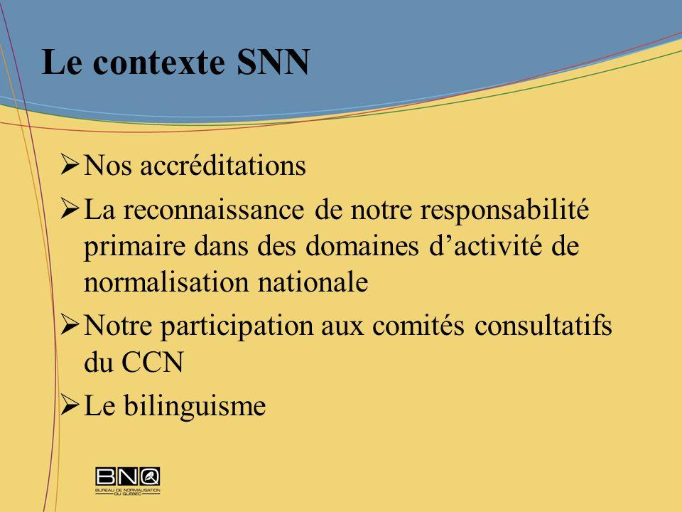 Le contexte SNN Nos accréditations La reconnaissance de notre responsabilité primaire dans des domaines dactivité de normalisation nationale Notre par