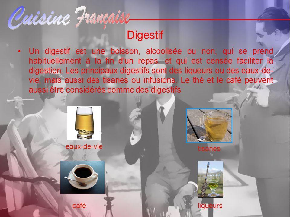 Digestif Un digestif est une boisson, alcoolisée ou non, qui se prend habituellement à la fin d'un repas, et qui est censée faciliter la digestion. Le