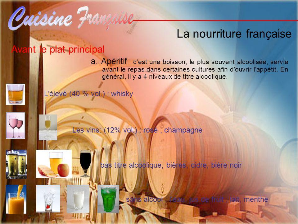 La nourriture française Avant le plat principal a. Apéritif cest une boisson, le plus souvent alcoolisée, servie avant le repas dans certaines culture