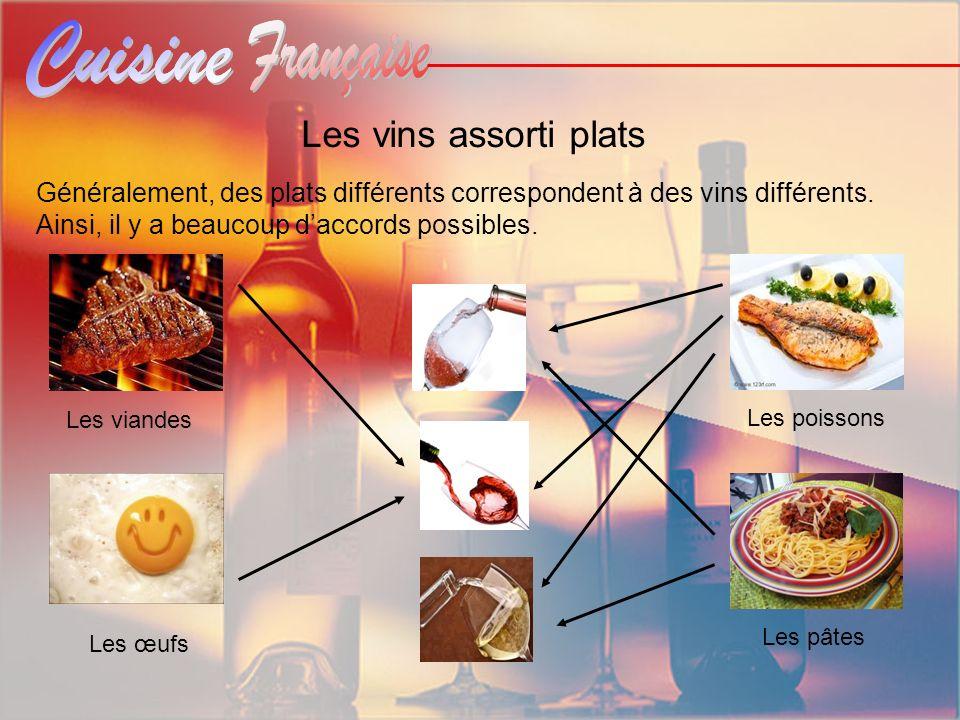 Les vins assorti plats Les viandes Généralement, des plats différents correspondent à des vins différents. Ainsi, il y a beaucoup daccords possibles.