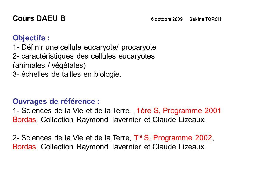 Cours DAEU B 6 octobre 2009 Sakina TORCH Objectifs : 1- Définir une cellule eucaryote/ procaryote 2- caractéristiques des cellules eucaryotes (animale