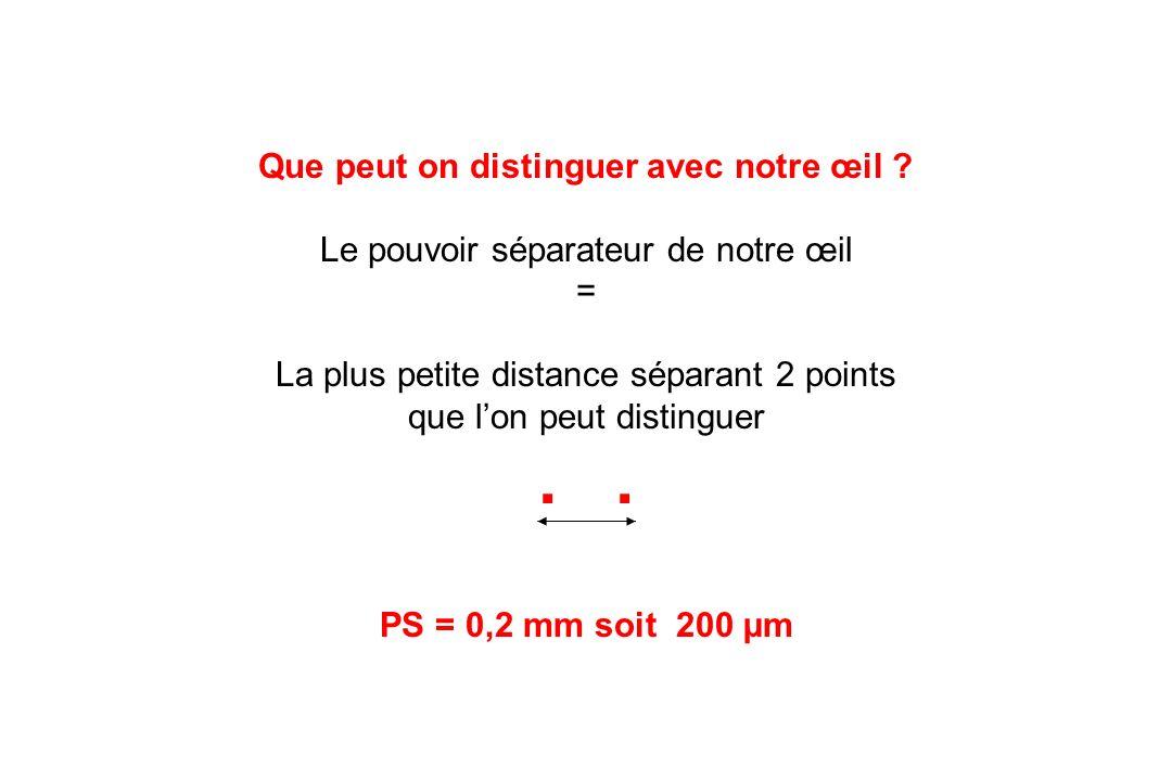 Que peut on distinguer avec notre œil ? Le pouvoir séparateur de notre œil = La plus petite distance séparant 2 points que lon peut distinguer. PS = 0