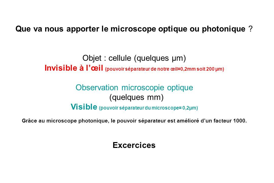 Que va nous apporter le microscope optique ou photonique ? Objet : cellule (quelques µm) Invisible à lœil (pouvoir séparateur de notre œil=0,2mm soit