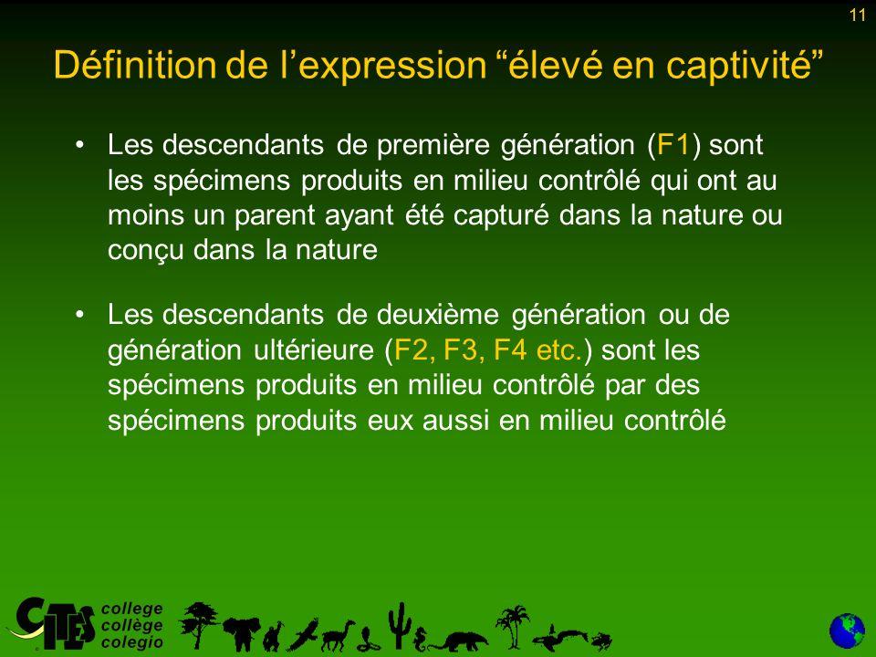 11 Les descendants de première génération (F1) sont les spécimens produits en milieu contrôlé qui ont au moins un parent ayant été capturé dans la nature ou conçu dans la nature Les descendants de deuxième génération ou de génération ultérieure (F2, F3, F4 etc.) sont les spécimens produits en milieu contrôlé par des spécimens produits eux aussi en milieu contrôlé 11 Définition de lexpression élevé en captivité