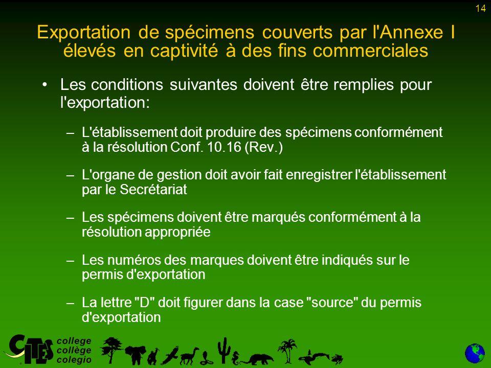 14 Les conditions suivantes doivent être remplies pour l exportation: –L établissement doit produire des spécimens conformément à la résolution Conf.