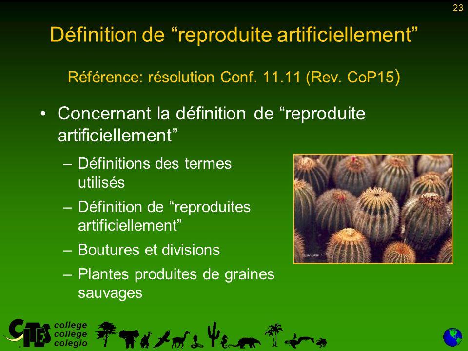 23 Définition de reproduite artificiellement Référence: résolution Conf.