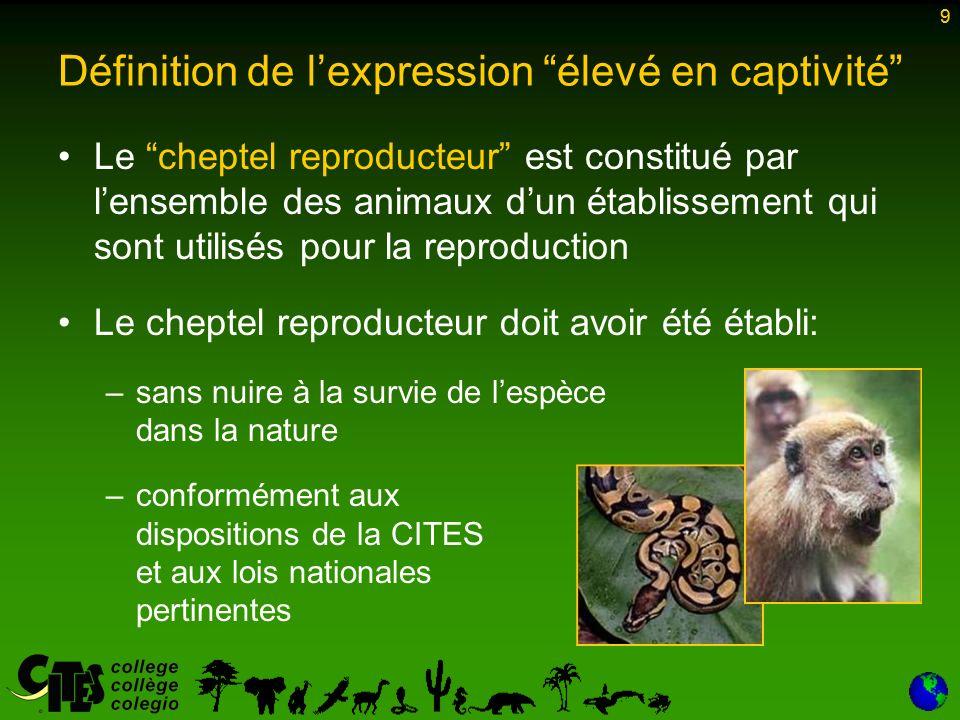 9 Le cheptel reproducteur est constitué par lensemble des animaux dun établissement qui sont utilisés pour la reproduction Le cheptel reproducteur doit avoir été établi: –sans nuire à la survie de lespèce dans la nature –conformément aux dispositions de la CITES et aux lois nationales pertinentes 9 Définition de lexpression élevé en captivité