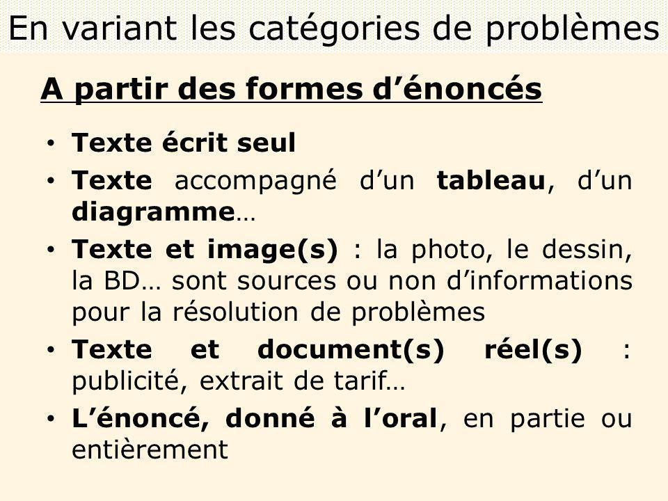 A partir des formes dénoncés Texte écrit seul Texte accompagné dun tableau, dun diagramme… Texte et image(s) : la photo, le dessin, la BD… sont source