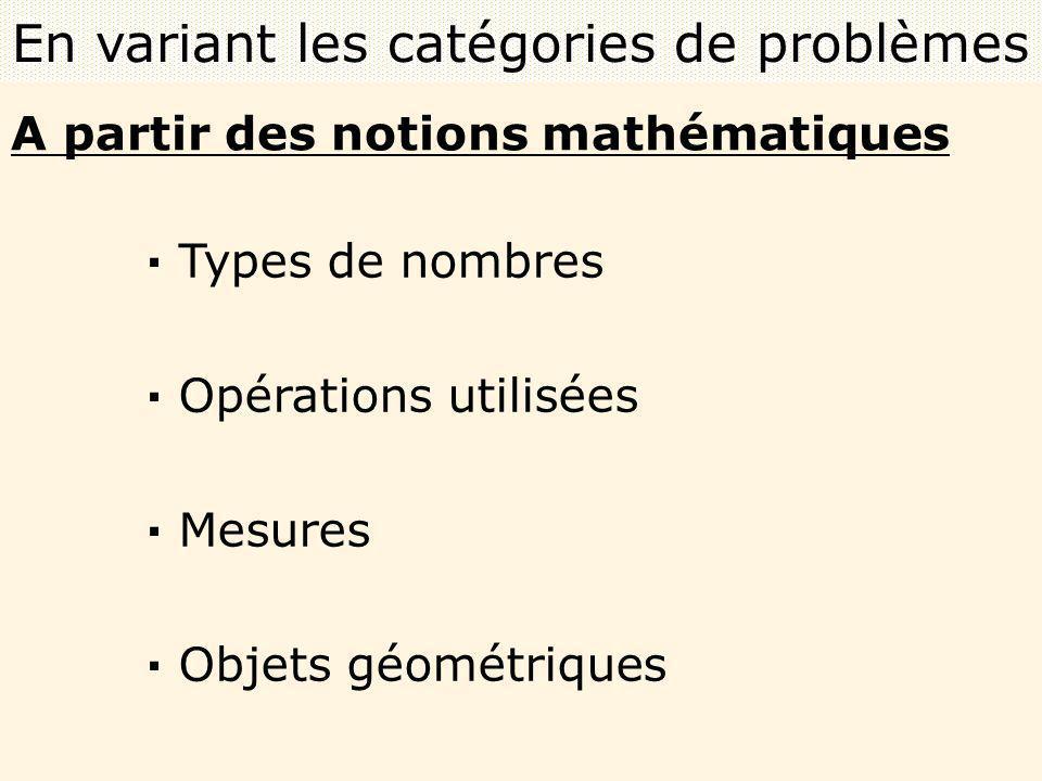 A partir des notions mathématiques · Types de nombres · Opérations utilisées · Mesures · Objets géométriques En variant les catégories de problèmes