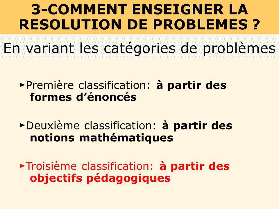 Première classification: à partir des formes dénoncés Deuxième classification: à partir des notions mathématiques Troisième classification: à partir d