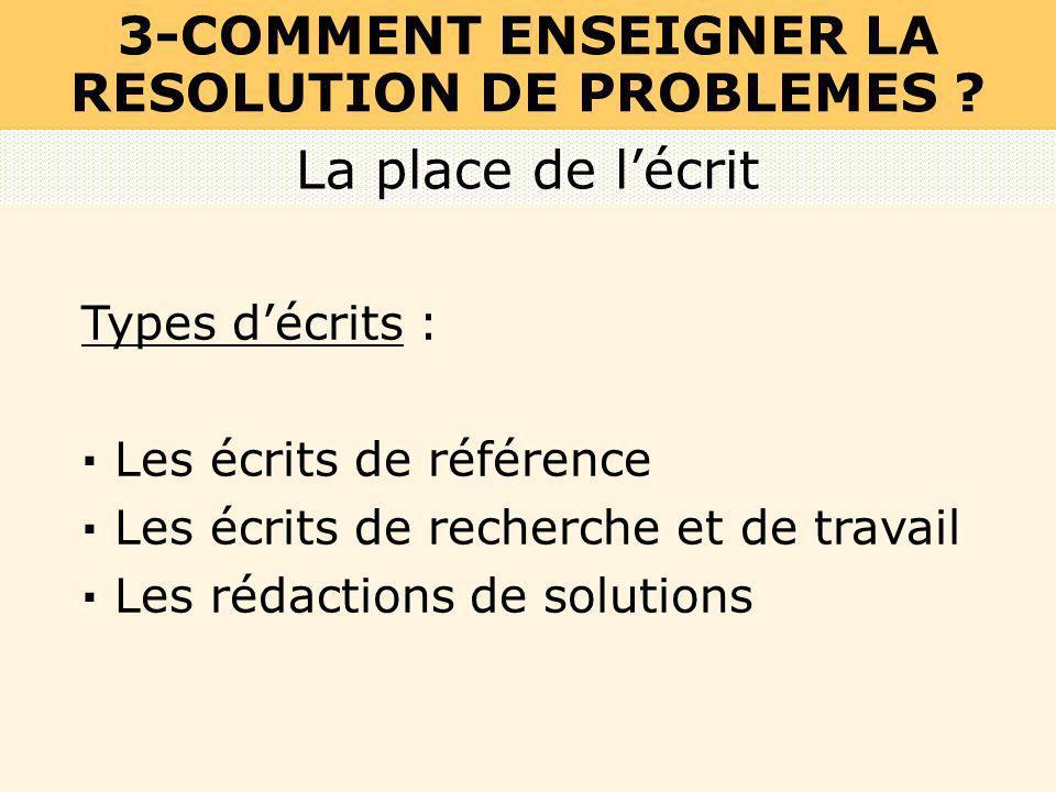 Types décrits : · Les écrits de référence · Les écrits de recherche et de travail · Les rédactions de solutions La place de lécrit 3-COMMENT ENSEIGNER
