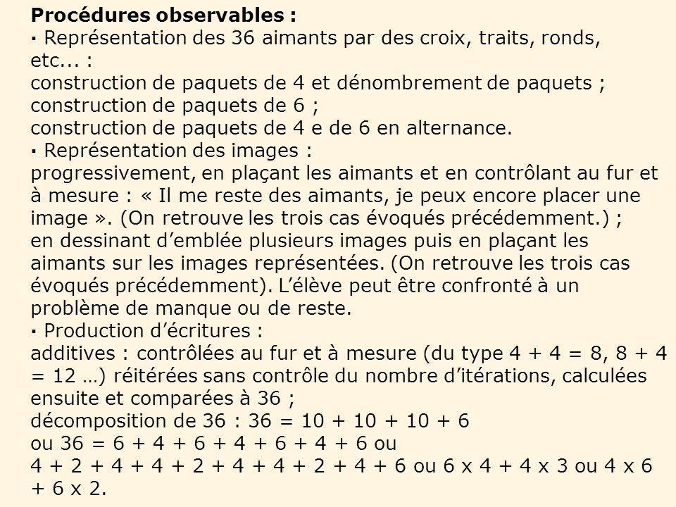 Procédures observables : Représentation des 36 aimants par des croix, traits, ronds, etc... : construction de paquets de 4 et dénombrement de paquets